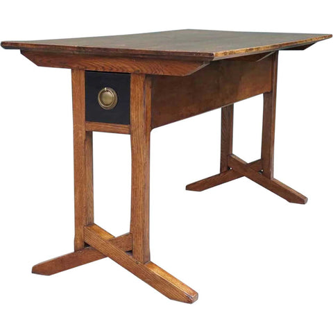 English Arts and Crafts Period Oak Library Table