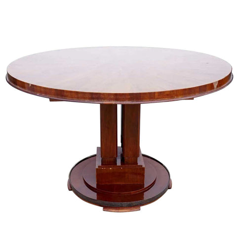 French Art Deco ALFRED PORTENEUVE Polished Mahogany Round Pedestal Salon Center Table
