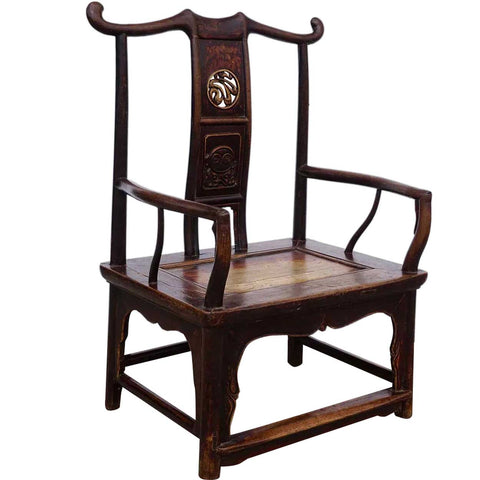 Chinese Qing Lacquered Elm Low Armchair
