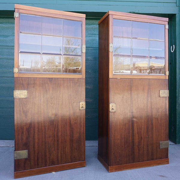 Pair of Vienna Secessionist Hammered Brass Mounted Mahogany and Beveled Glass Cabinets