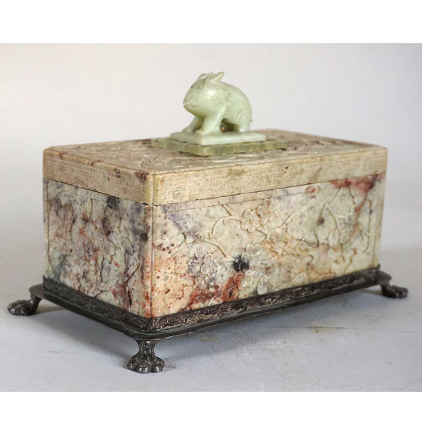 Chinese Soapstone and Jade Rabbit Finial Dresser Box