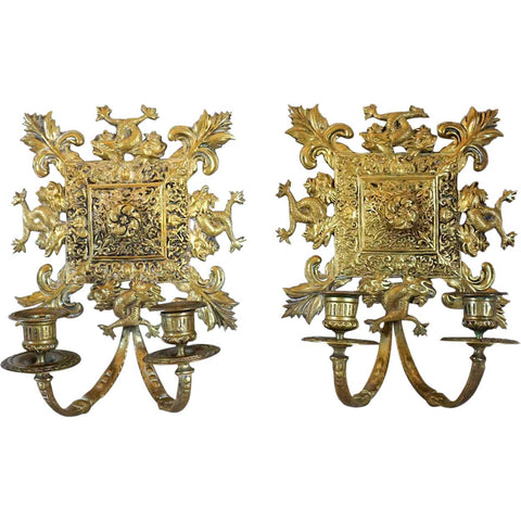 Pair of French Gilt Brass Two-Light Candle Wall Sconces