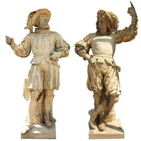 Important Pair of ALEXANDER CALANDRELLI Terracotta Pottery Lansquenet Statues