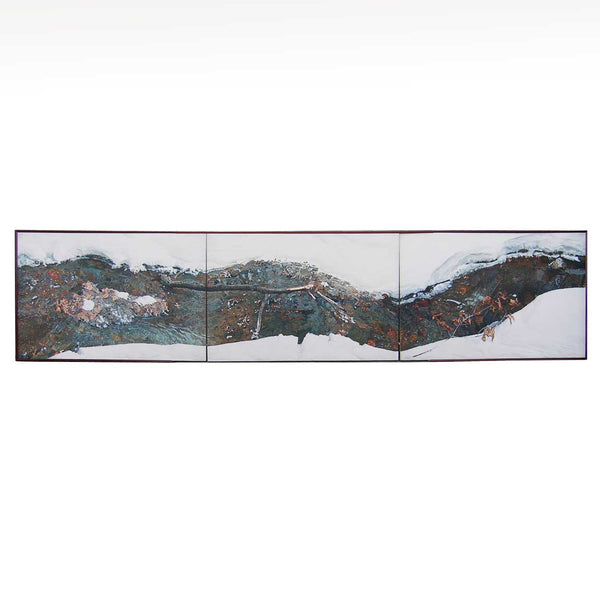 Oil on Canvas Painting, Large Tryptic Aerial Snowy Brook Scene