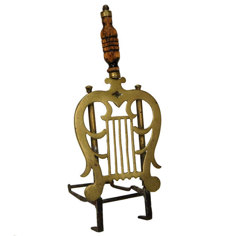 English George III Brass and Wood Hearth Trivet Kettle Stand