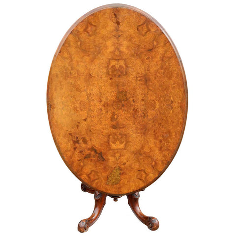 English Victorian Circassian Walnut and Glass Oval Tilt-Top Pedestal Breakfast / Loo Table