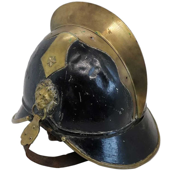 European Brass, Painted Iron and Leather Fire Brigade Helmet