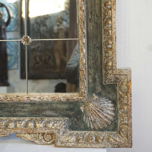 Large Italian Silver Gilt and Blue Painted Overmantel Custom Made Paneled Mirror