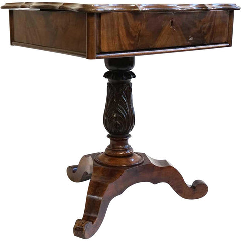 Small English Victorian Flame Mahogany Sewing Stand Pedestal Side Table