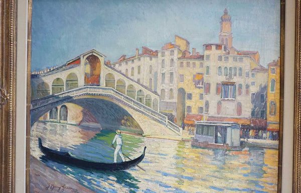 J. BARRY GREENE Large Oil on Canvas Painting, Riatto Bridge, Venice
