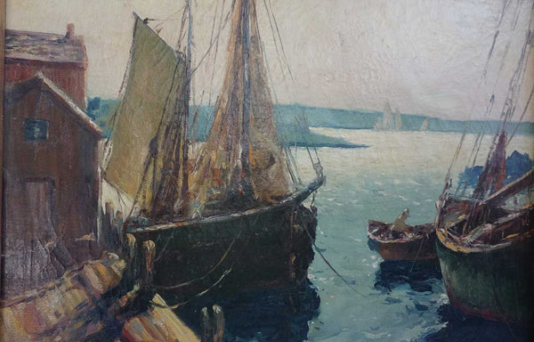 C. RICHARDS Oil on Canvas Painting, Fishing Boats at the Dock