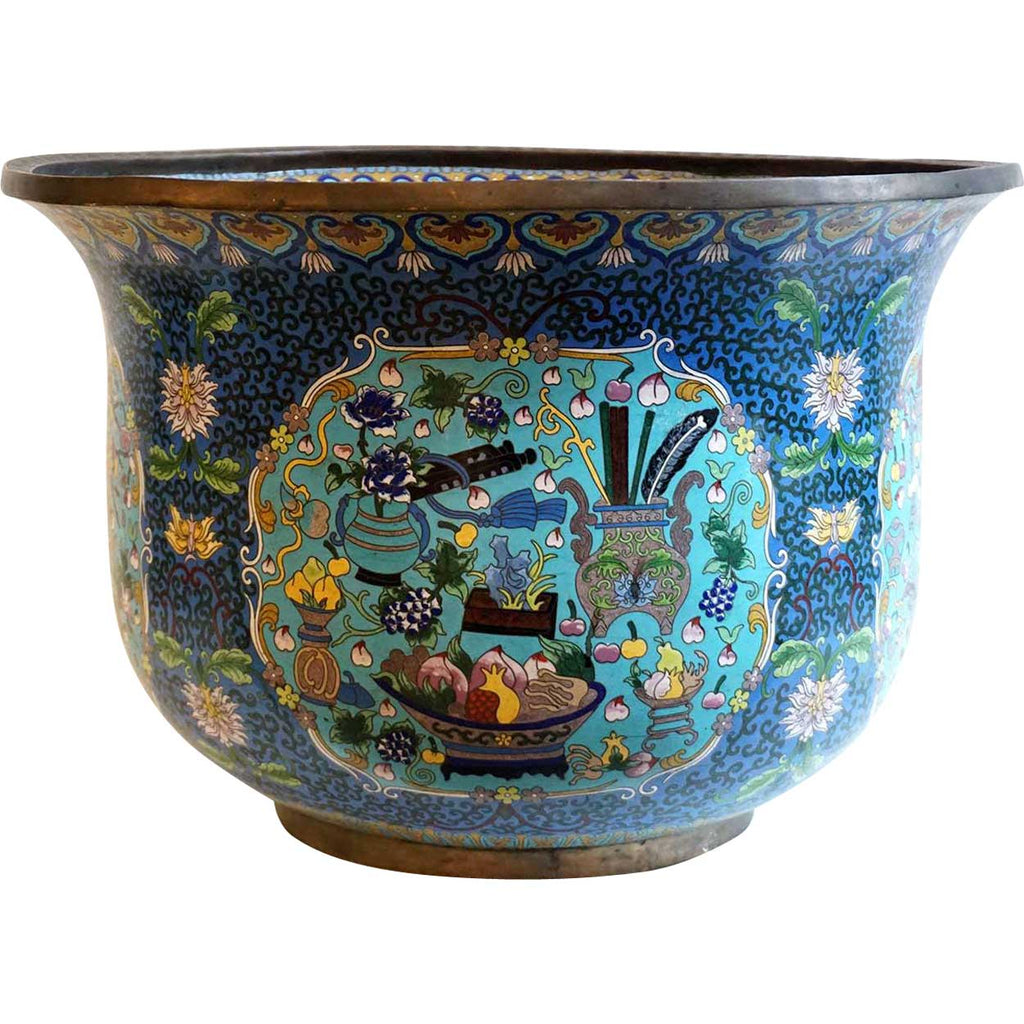 Very Large Chinese Cloisonne Enamel Bronze Jardiniere Fish Bowl Plan