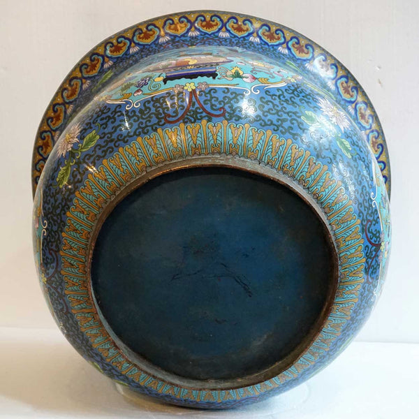 Very Large Chinese Cloisonné Enamel Bronze Jardinière Fish Bowl / Planter