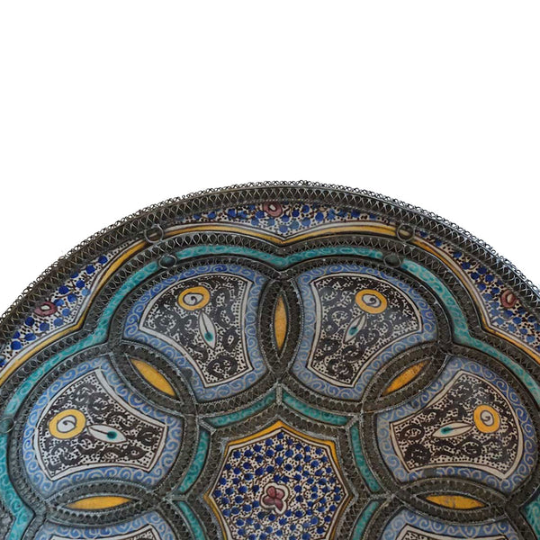 Large Moroccan Fez Nickel-Silver Filigree Pottery Decorative Low Bowl