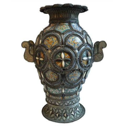 Large Moroccan Fez Nickel-Silver Filigree Mounted Pottery Urn