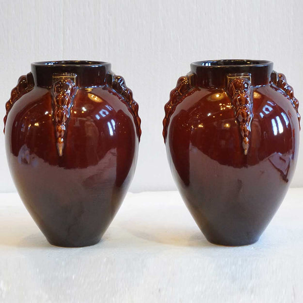 Pair of American Roseville Topeo / Mowa Art Deco Glossy Red Glaze Pottery Vases