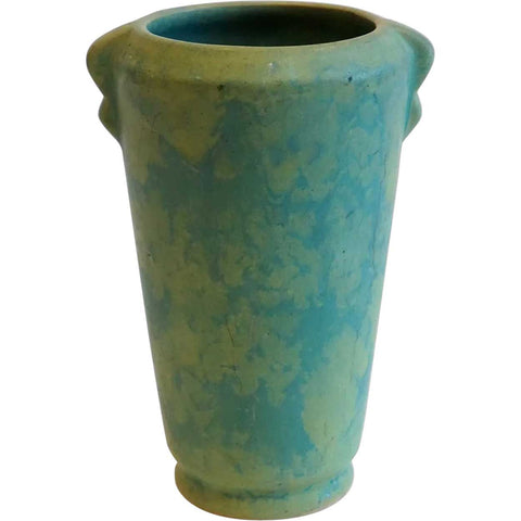 Vintage American Weller Arts and Crafts Mottled Matte Green Glaze Pottery Vase
