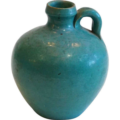 Small Vintage American Arts and Crafts Green Glaze Pottery Jug