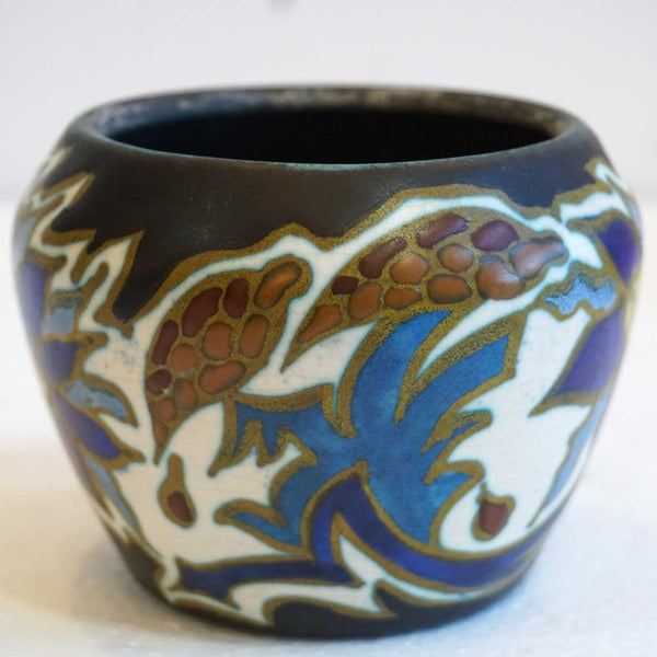 Small Dutch Gouda Pottery Sonna Pattern Floral Bowl / Vase