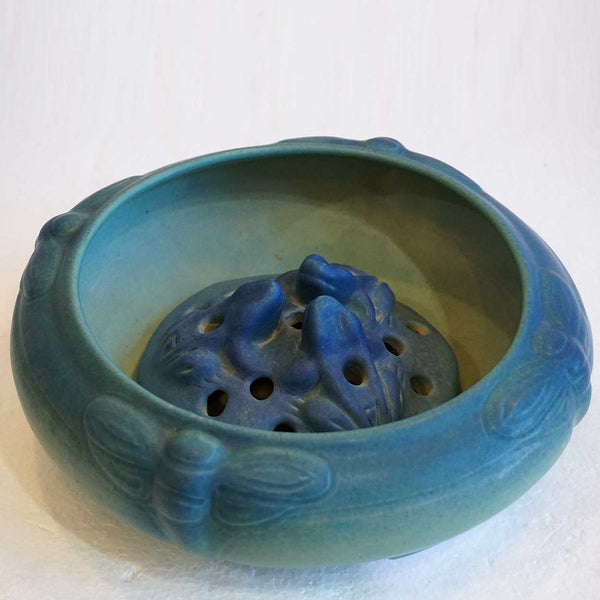 Vintage American Van Briggle Arts and Crafts Pottery Matte Blue Moth Low Bowl and Flower Frog
