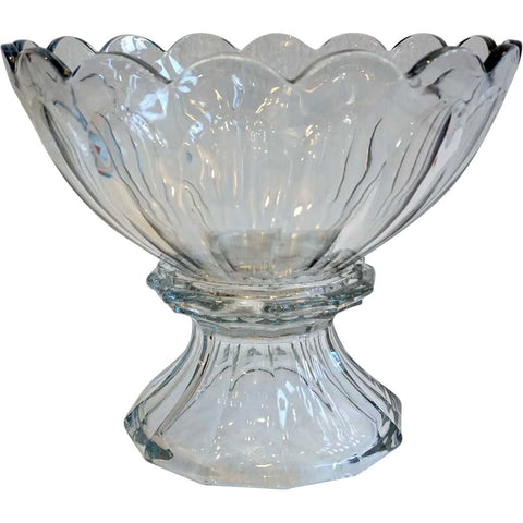 American Heisey Puritan Clear (Colonial) Clear Glass Punch Bowl on Stand