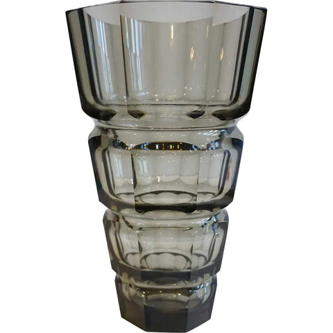 Large Josef Hoffmann for Moser Art Deco Faceted Smokey Topaz Glass Vase