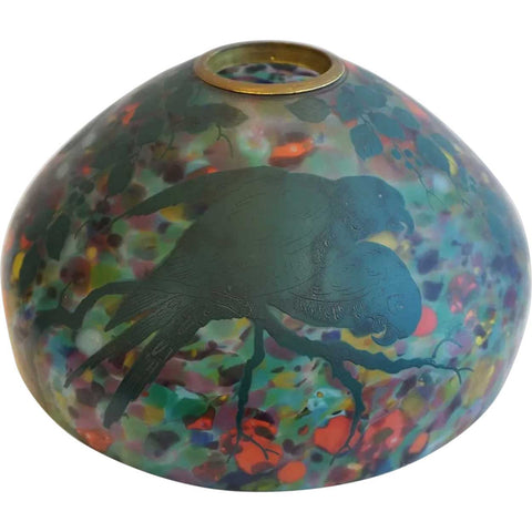 Large Rare American Pittsburgh Glass End-of-Day Enamel Parrots Dome Lamp Shade