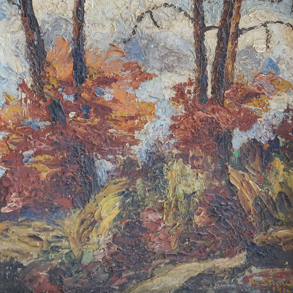 WALLY STRAUTIN Oil on Panel Landscape Painting, Fall Trees