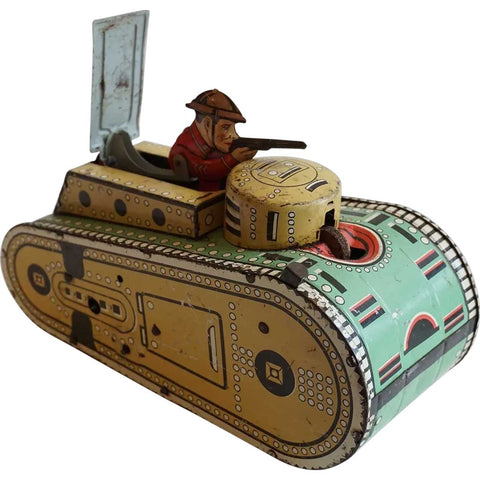 Vintage American Marx WWI Doughboy Tin Lithograph Army Tank Toy