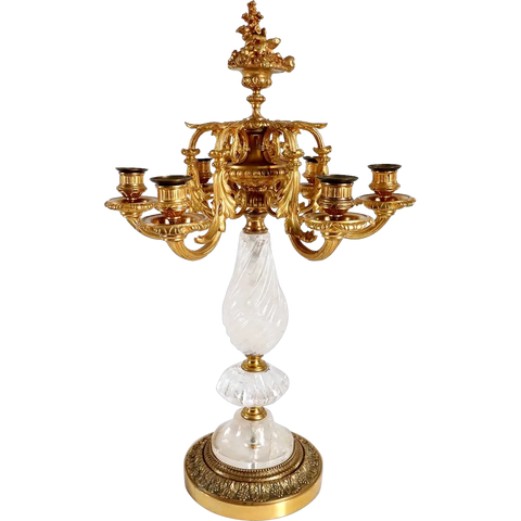 French Gilt Bronze and Rock Crystal Six-Light Candelabrum