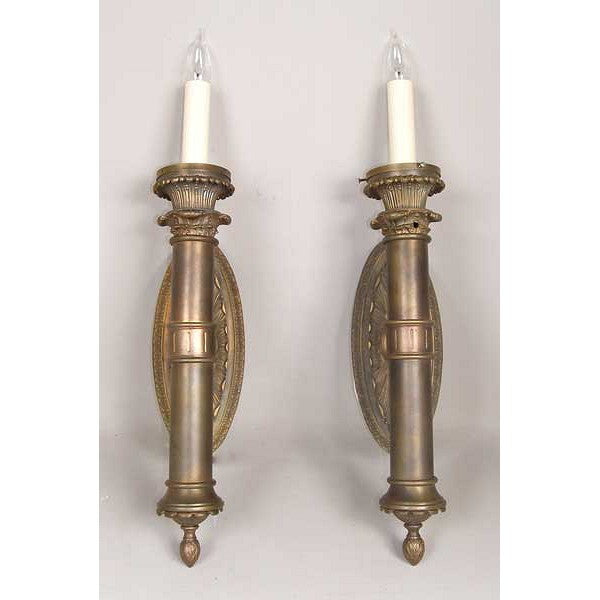 Pair of American Neoclassical Brass One-Light Wall Sconces