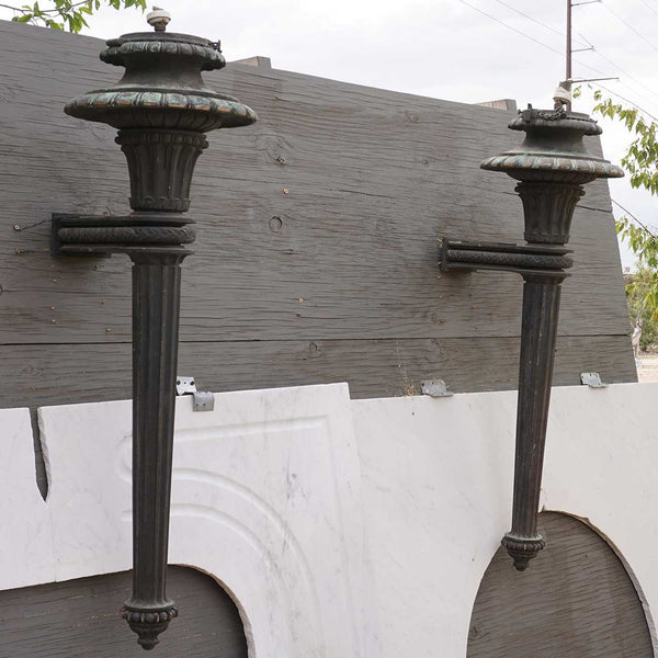 Large Pair of American Neoclassical Bronze One-Light Exterior Wall Sconces