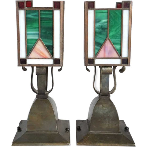 Pair of American Arts and Crafts Brass and Leaded Glass One-Light Table Lamps