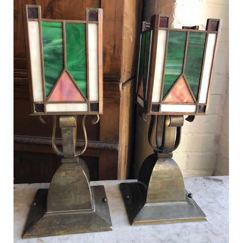 Pair of American Arts and Crafts Brass and Leaded Glass Light Fixtures