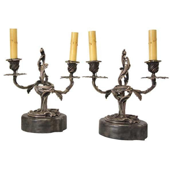 Pair of Louis XV Style Silver-Plated Two-Light Candelabra Table Lamps