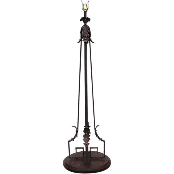 French Art Deco Wrought Iron and Brass Floor Lamp