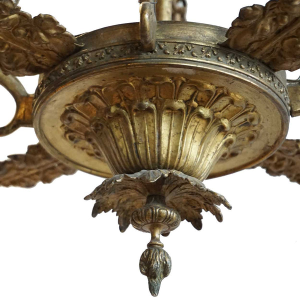 Small Swedish Empire Brass Four-Light Chandelier