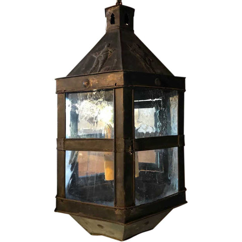 Dutch Copper Repousse Hanging Lantern