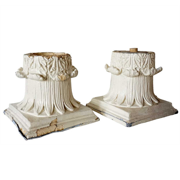 Pair of American Painted Tin Pillar Capitals