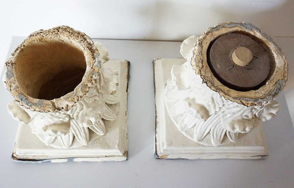 Pair of American Painted Gesso Pillar Capitals