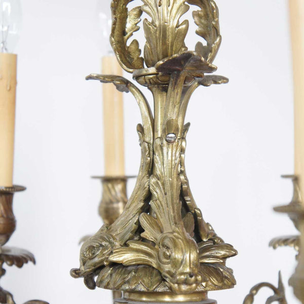 Small French Louis XIV Style Bronze Nine-Light Chandelier