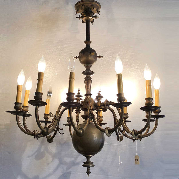 French Baroque Style Brass 12-Light Chandelier