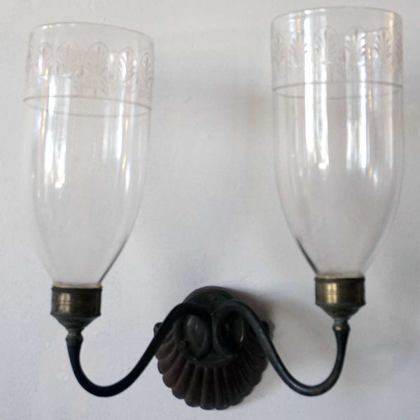 Anglo Indian Regency Teak, Brass and Glass Two-Light Wall Sconce
