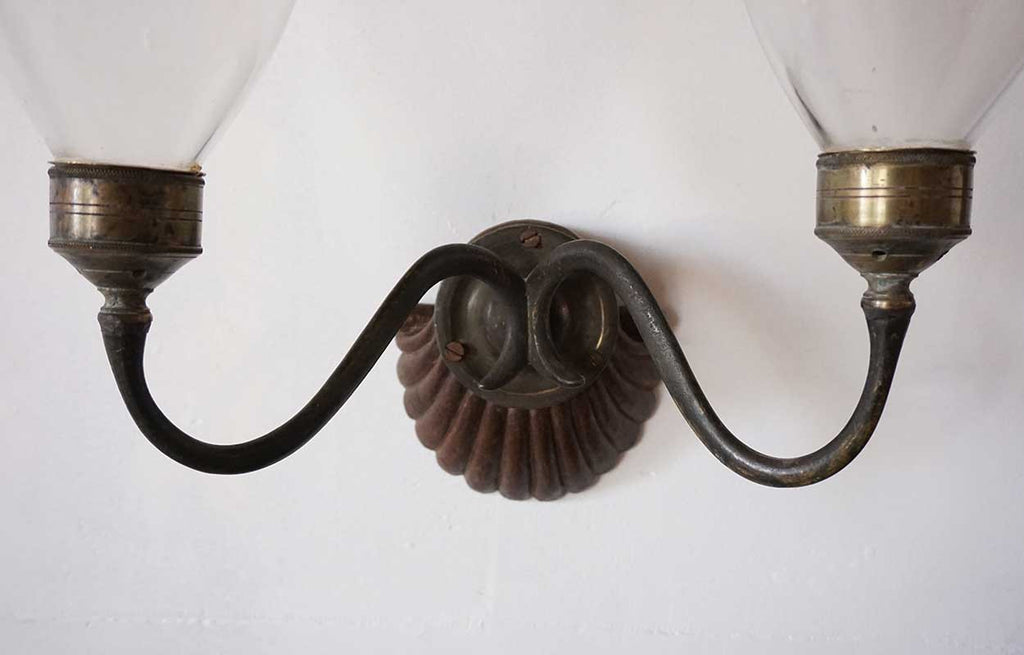 Antique Anglo Indian Regency Teak Brass And Glass TwoLight Wall Sconce - Two light bathroom sconce