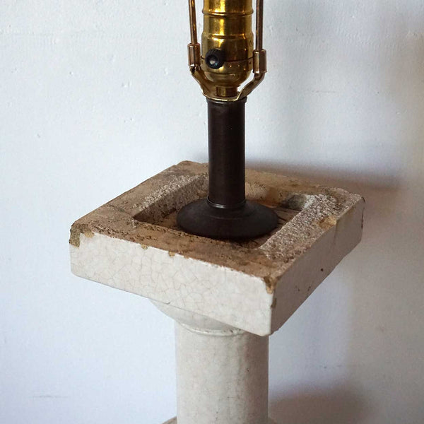 American Glazed Terracotta Architectural Baluster as a Table Lamp