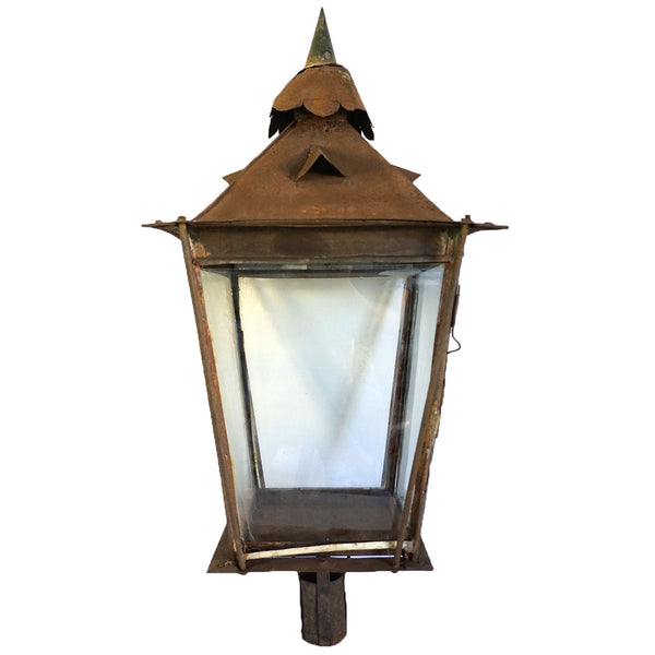 Anglo Indian Sheet Iron Post Lamp Lantern