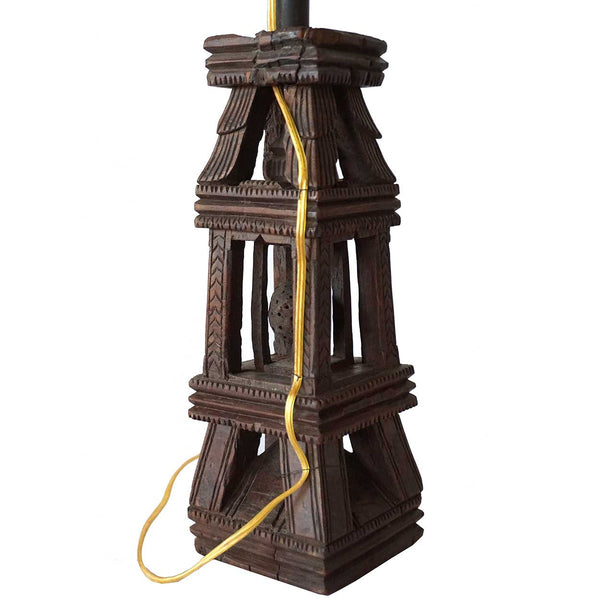 Indian Folk Art Teak Architectural Element as a Table Lamp