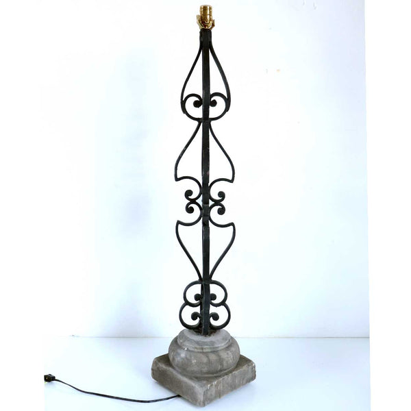 Large Italian Wrought Iron and Alabaster Table Lamp