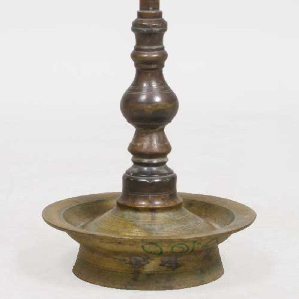 Tall South Indian Brass Diya Oil Lamp