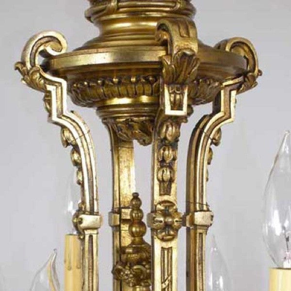 French Gilt Bronze Eight-Light Chandelier